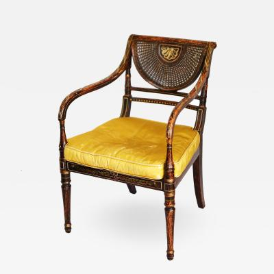 Early 19th Century Parcel Gilt Caned Armchair after Angelica Kauffman