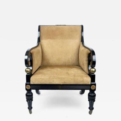 Early 19th Century Regency Ebonized Club Chair with Gilt Ormolu Details