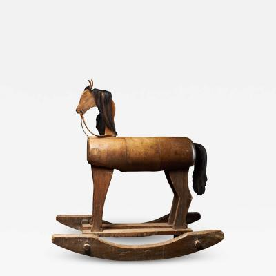 Early 20th C Antique Wooden Rocking Horse