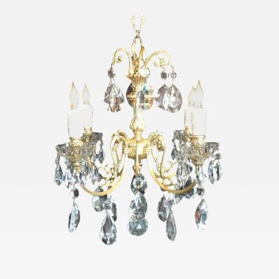Early 20th C English Bronze Chandelier
