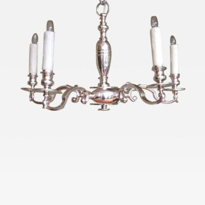 Early 20th C English Sheffield Silver Five Arm Chandelier