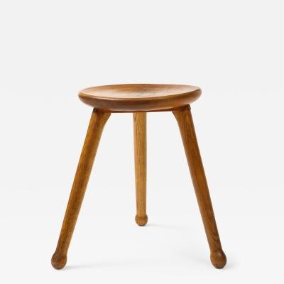 Early 20th C French Oak Stool with Light Finish France