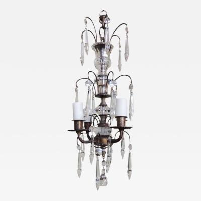 Early 20th C Italian Brass and Crystal Petite Chandelier