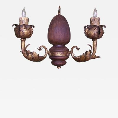 Early 20th C Italian Carved Wood and Foliate Gilt Tole Arm Chandelier