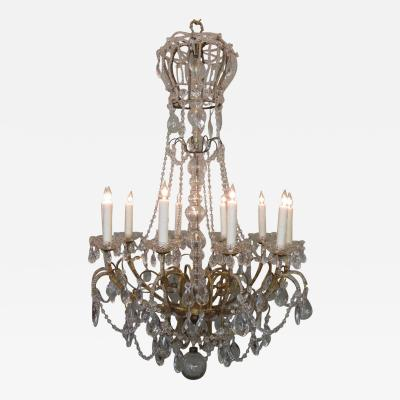 Early 20th C Italian Crystal and Brass Coronation Chandelier