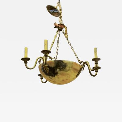 Early 20th Century Alabaster and Brass 6 Light Fixture