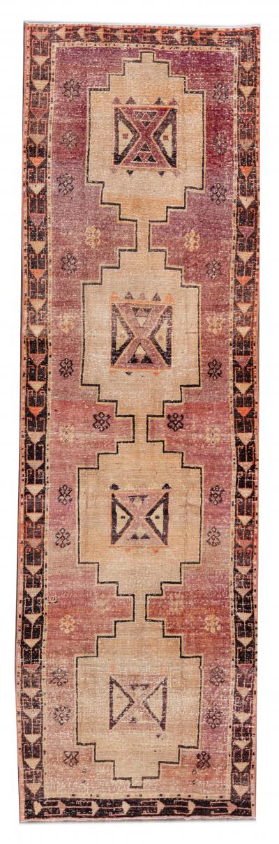 Early 20th Century Antique Anatolian Wool Runner Rug 4 x 13