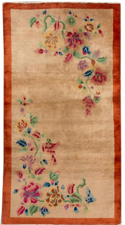 Early 20th Century Antique Chinese Art Deco Wool Rug 4 X 7