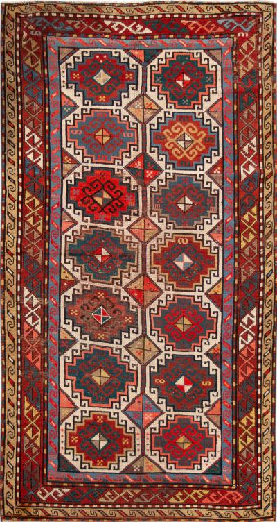 Early 20th Century Antique Kazak Wool Gallery Rug 4 X 8