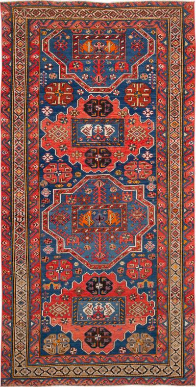 Early 20th Century Antique Kazak Wool Gallery Rug 6 X 11