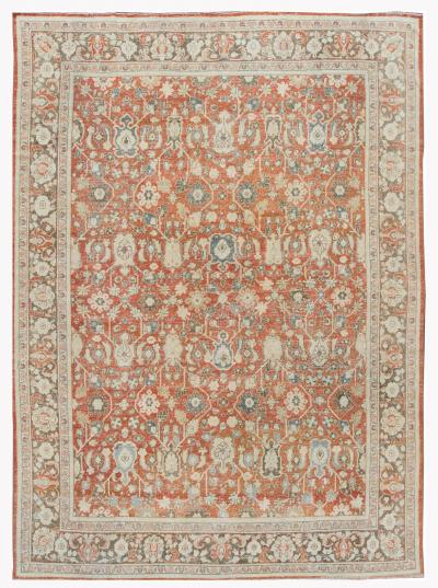 Early 20th Century Antique Mahal Wool Rug