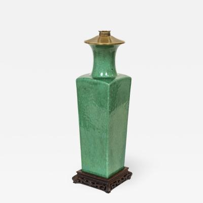 Early 20th Century Apple Green Chinese Urn Shaped Table Lamp
