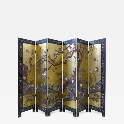 Early 20th Century Chinese Coromandel Six Panel Screen with Foliage and Birds
