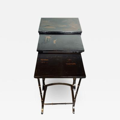 Early 20th Century Chinoiserie Black Lacquered Japanned Nesting Tables Set of 3