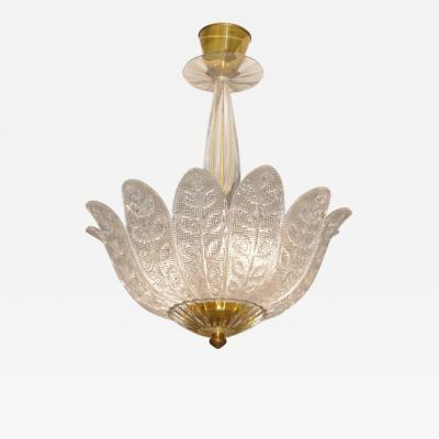 Early 20th Century European Glass and Brass Chandelier