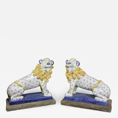 Early 20th Century French Glazed Pottery Lions a Pair