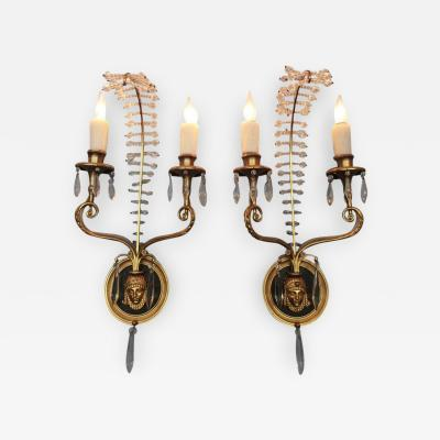 Early 20th Century Italian Egyptian Bronze and Crystal Sconces