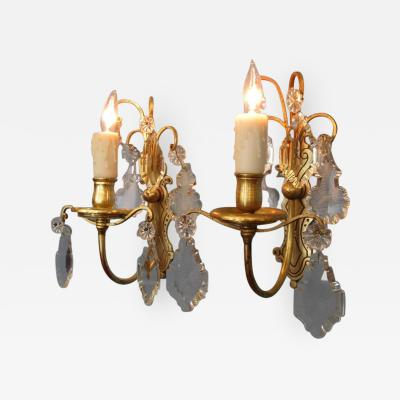 Early 20th Century Italian Neoclassical Gilt Brass and Crystal Candle Sconces