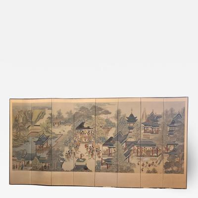 Early 20th Century Korean 8 Panel Hand Painted Screen