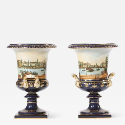 Early 20th Century Pair Porcelain Urns Campana Shaped Vases