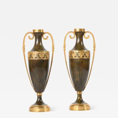 Early 20th Century Pair Tall Patinated Bronze Vases Pieces