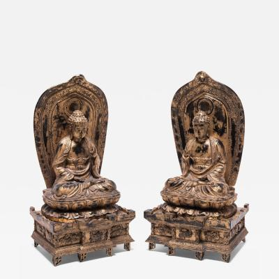 Early 20th Century Pair of Japanese Sakyamuni Buddhas with Stele