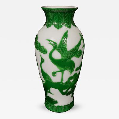 Early 20th Century Peking Glass Crane Vase