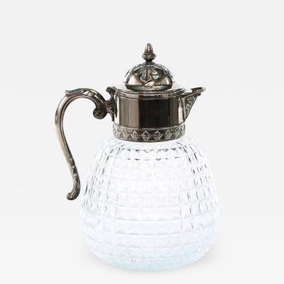 Early 20th Century Silver Plated Top Cut Glass Pitcher