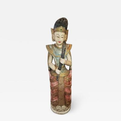 Early 20th Century Thai Goddess Polychrome Statue