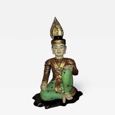 Early 20th Century Thai Seated Boy Emperor Polychrome Statue