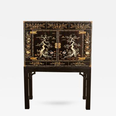 Early 20th Century Vietnamese Black Two Door Cabinet on Black Stand