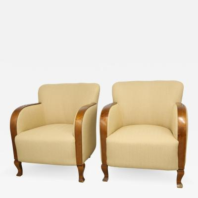 Early 20th Century Vintage Art Deco Swedish Club Chairs A Pair