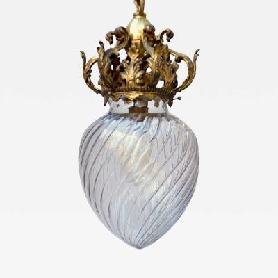 Early 20th c Cut Crystal Pendant Lamp