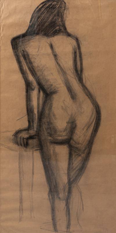 Early 20th century female figure in Charcoal with black frame
