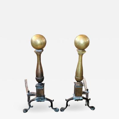 Early American Canonball Brass Andirons
