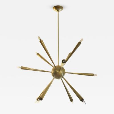 Early Brass Sputnik Chandelier Italy 1950s