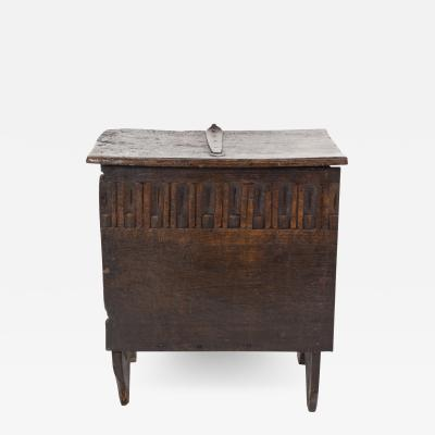 Early English Oak Coffer With Finger Groove Carving Frieze English Circa 1700