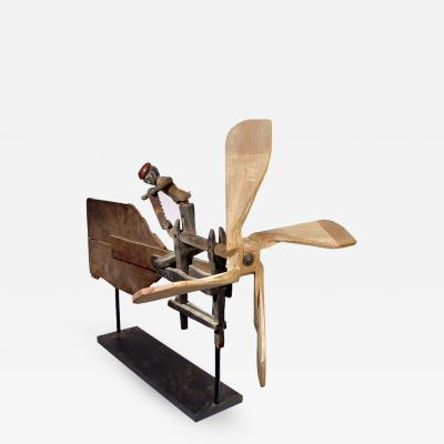 Early Folk Art Whirligig Articulated Worker Sawing Wood