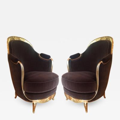 Early French Art Deco Astounding Pair of Gold Leaf Armchairs