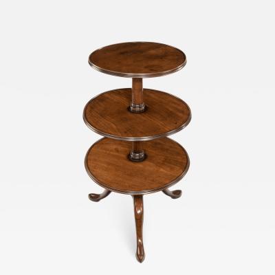 Early George III three tier mahogany dumb waiter