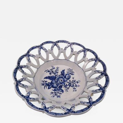 Early Hand Painted Worcester Porcelain Blue and White Circular Basket