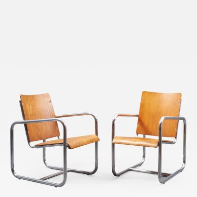 Early Modernist Pair of Tubular Armchairs Italy 1930s