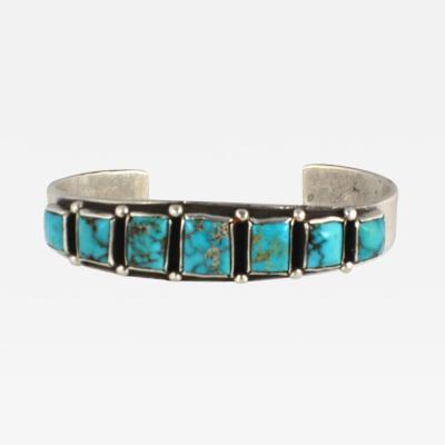 Early Navajo row bracelet with graduated rectangular stones