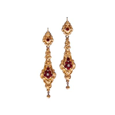 Early Victorian Gold Day To Night Garnet Earrings