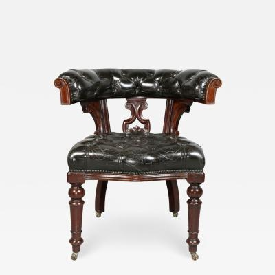 Early Victorian Mahogany and Tufted Leather Desk Chair