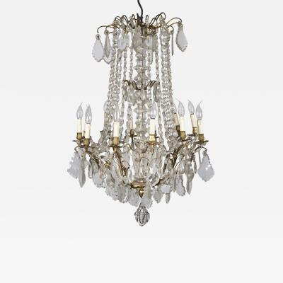 Early XXth Century Bronze and Cristal Chandelier