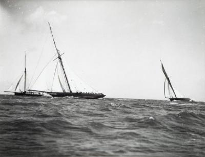 Early silver gelatin photo print by Beken of Cowes Yacht Maid Marion
