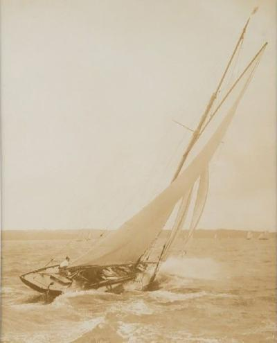 Early silver gelatin photo print by Beken of Cowes Yacht Solde