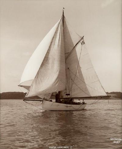 Early silver gelatin photo print by Beken of Cowes Yacht White Heather