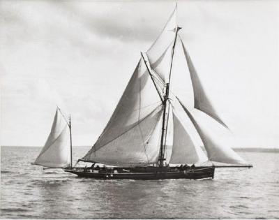 Early silver gelatin photographic print by Beken of Cowes Ketch Iona